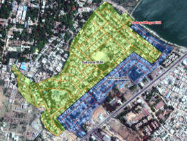 Satellite image: Zone 5 of the WaLUE project area in Tiruvannamalai Municipality including subzones