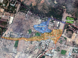 Satellite image: Zone 6 of the WaLUE project area in Tiruvannamalai Municipality including subzones